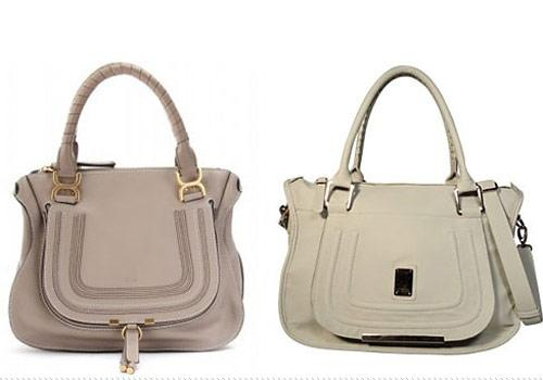 Chloe vs. Kardashian Kollection  On the left: Chloe Marcia Medium Leather Tote, $1,650. On the right: Kardashian Kollection Tote Bag, $99.95. Same shape, same handles, same curved front flap. Coincidence? You decide. Photo by: Chloe and bagsac.com.au