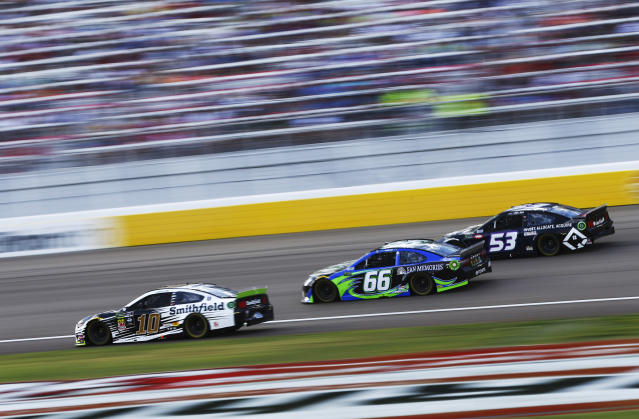 Aric Almirola (10), Timmy Hill (66) and Josh Bilicki (53) drive during a NASCAR Cup Series auto race at the Las Vegas Motor Speedway on Sunday, Sept. 15, 2019. (AP Photo/Chase Stevens)