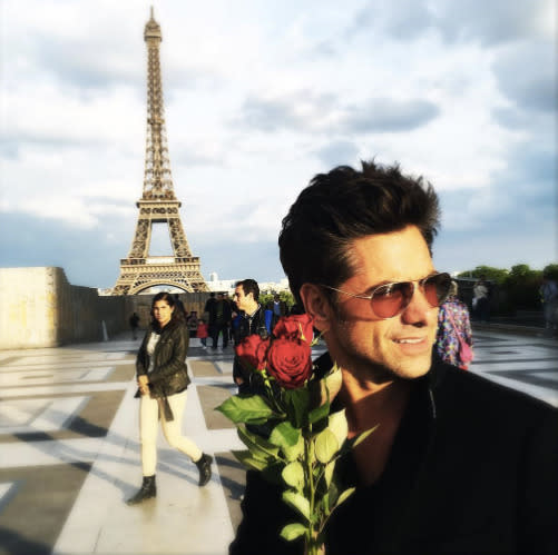 "<p>""If I was a city I'd want to be Paris,"" wrote the <em>Fuller House</em> star, looking more like <em>The Bachelor</em>, in 2016. So who got his rose? His girlfriend, model Caitlin McHugh. (Photo: <a href=""https://www.instagram.com/p/BFpr2fiihyI/?hl=en"" rel=""nofollow noopener"" target=""_blank"" data-ylk=""slk:John Stamos via Instagram"" class=""link rapid-noclick-resp"">John Stamos via Instagram</a>)<br><br></p>"