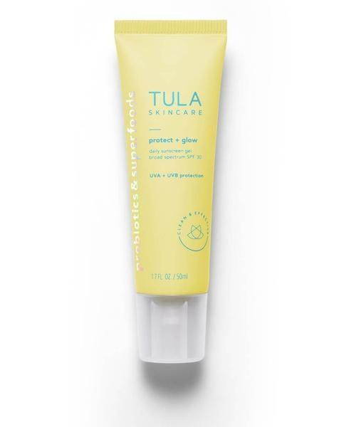 """<h3>Tula Protect + Glow Daily Sunscreen Gel Broad Spectrum SPF 30</h3><br>Tula's brand-new sunscreen feels more like your favorite gel moisturizer than a typical sun-care formula: It's totally non-comedogenic, won't leave you looking ghost-like, and is packed with good-for-your-skin ingredients like probiotics, pineapple, and papaya. <br><br><strong>Tula</strong> Daily Sunscreen Gel Broad Spectrum SPF 30, $, available at <a href=""""https://go.skimresources.com/?id=30283X879131&url=https%3A%2F%2Fwww.tula.com%2Fproducts%2Fdaily-sunscreen-gel-broad-spectrum-spf-30"""" rel=""""nofollow noopener"""" target=""""_blank"""" data-ylk=""""slk:Tula"""" class=""""link rapid-noclick-resp"""">Tula</a>"""