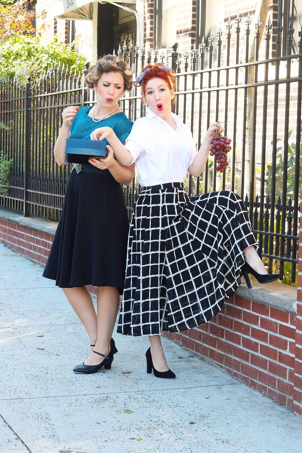 """<p>There's a good chance you have everything you need in your closet to recreate this iconic duo — and if not, your mom probably does! </p><p><em><a href=""""http://livingaftermidnite.com/2017/10/best-friend-halloween-costumes.html"""" rel=""""nofollow noopener"""" target=""""_blank"""" data-ylk=""""slk:Get the tutorial at Living After Midnite >>"""" class=""""link rapid-noclick-resp"""">Get the tutorial at Living After Midnite >></a></em></p>"""