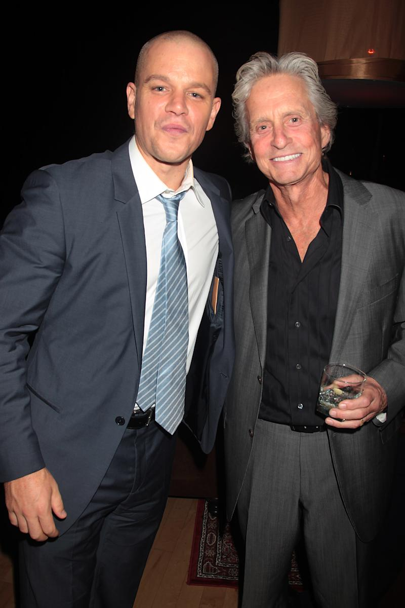 "FILE - In this Sept. 7, 2011 file photo, actors Matt Damon, left, and Michael Douglas are shown at the after party for the film ""Contagion,"" in New York. Douglas and Damon will star as Liberace and Scott Thorson, Liberace's  younger live-in lover for HBO's its upcoming biopic of legendary pianist, titled ""Behind the Candelabra"". (AP Photo/Starpix, Dave Allocca)"