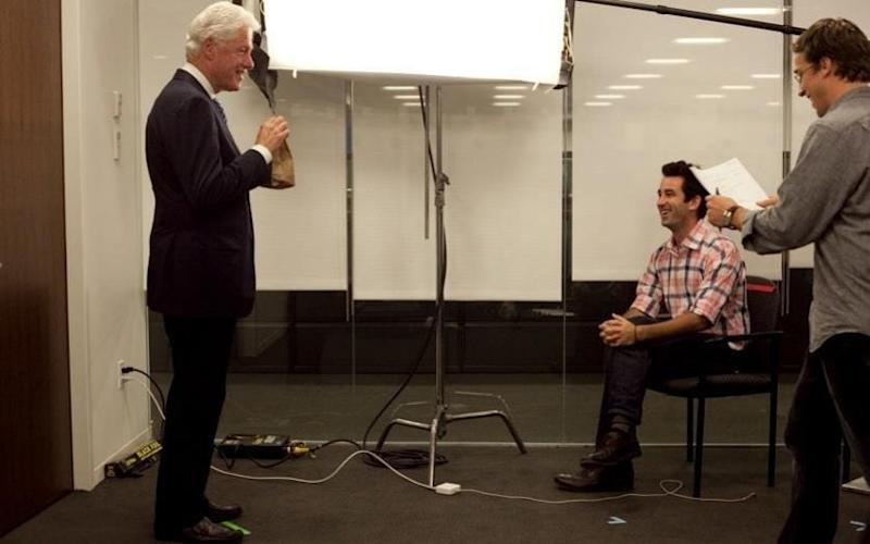 Bill Clinton filming for the Clinton Foundation, 2012