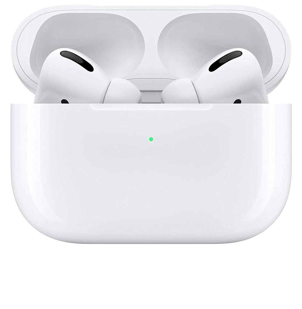 """<p><strong>Apple</strong></p><p>amazon.com</p><p><strong>$219.00</strong></p><p><a href=""""https://www.amazon.com/dp/B07ZPC9QD4?tag=syn-yahoo-20&ascsubtag=%5Bartid%7C10054.g.29155470%5Bsrc%7Cyahoo-us"""" rel=""""nofollow noopener"""" target=""""_blank"""" data-ylk=""""slk:Buy"""" class=""""link rapid-noclick-resp"""">Buy</a></p><p>These AirPods Pro come with a wireless charging case, not to mention noise cancellation and a snugger fit than the original model. If you don't have a <a href=""""https://www.esquire.com/lifestyle/g34332563/best-wireless-earbuds-2020/"""" rel=""""nofollow noopener"""" target=""""_blank"""" data-ylk=""""slk:pair of earbuds"""" class=""""link rapid-noclick-resp"""">pair of earbuds</a> that you love, and you <em>really</em> love Apple, then invest in these. </p>"""