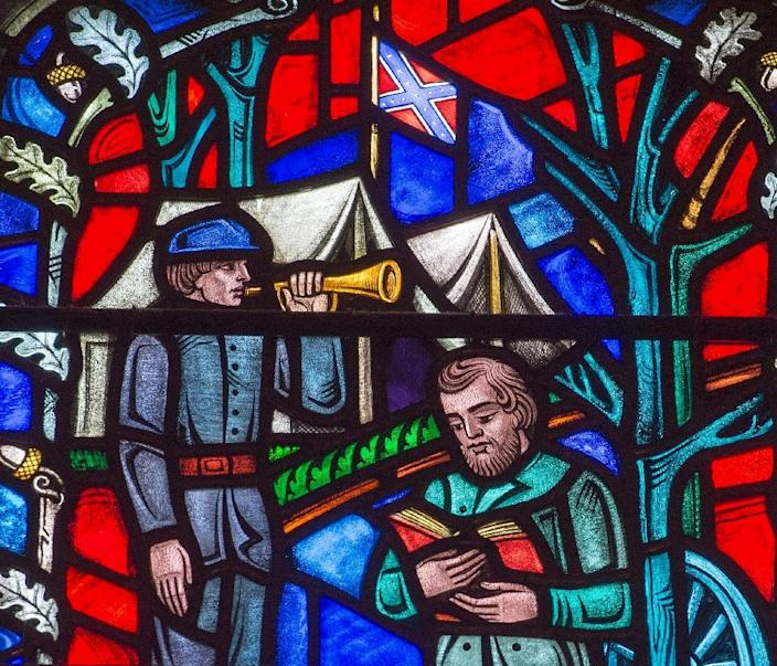 This stained glass window at The Washington National Cathedral in Washington, DC, depicts the life of US Civil War Confederate General Stonewall Jackson, on June 25 2015 (AFP Photo/Paul J Richards)