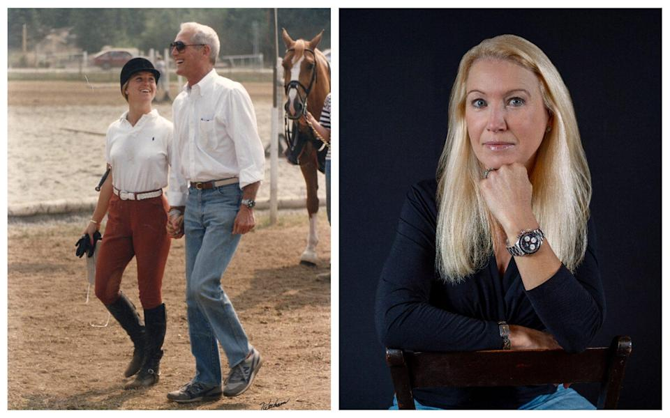 Paul Newman and his daughter, who sold his Newman Rolex Cosmograph 'Big Red' Daytona ref. 6263 for US$5.5 in 2020 - Left: Courtesy of Clea Newman Right: Phillips/Left: Courtesy of Clea Newman Right: Phillips