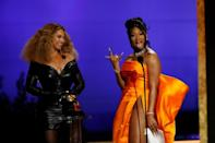 """Beyonce and Megan Thee Stallion accept a Grammy for """"Savage,"""" a remix that was a massive success"""