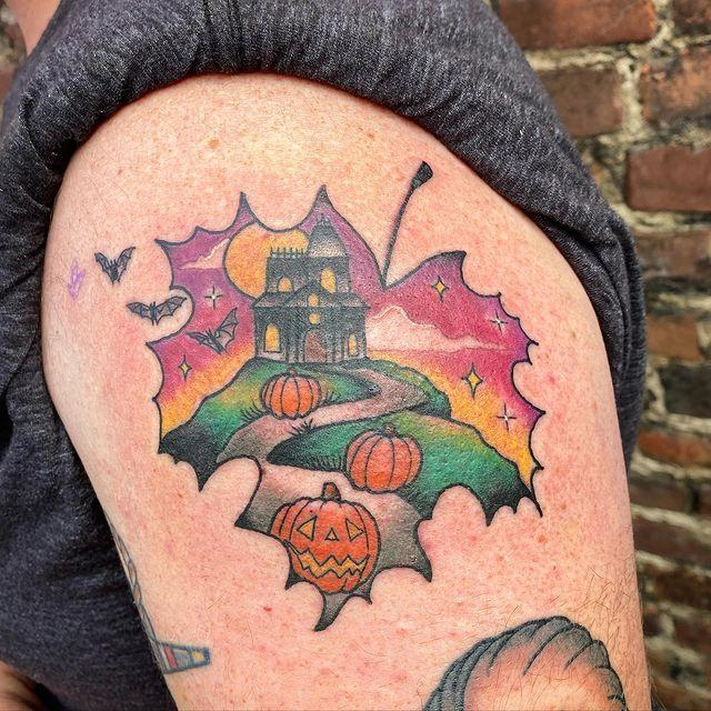 "<p>Halloween is one of the prime fall holidays, and this ink reflects that by putting a haunted mansion inside of an autumn leaf. The color work here is great with the sunset, grass, and pumpkins. And we love the little bats flying outside of the leaf borders.</p><p><a href=""https://www.instagram.com/p/CChVsFXB8RP/?utm_source=ig_embed&utm_campaign=loading"" rel=""nofollow noopener"" target=""_blank"" data-ylk=""slk:See the original post on Instagram"" class=""link rapid-noclick-resp"">See the original post on Instagram</a></p>"