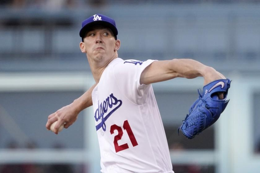 Los Angeles Dodgers starting pitcher Walker Buehler throws to the plate during the first inning of a baseball game against the Arizona Diamondbacks Saturday, July 10, 2021, in Los Angeles. (AP Photo/Mark J. Terrill)