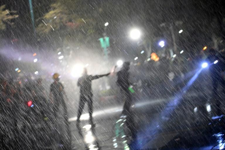 Sunday's confrontation was the second time Thai police have used water cannon against protesters
