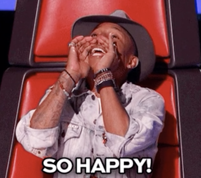 """Pharrell on """"The Voice"""" saying, """"So happy!"""""""