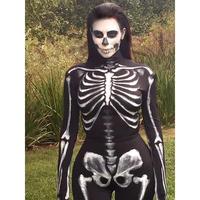 Kim Kardashian dressed as a skeleton for Halloween on October 31, 2014. Photo courtesy of Instagram @kimkardashian.