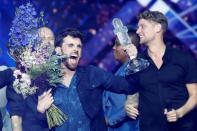 FILE PHOTO: Duncan Laurence of the Netherlands reacts after winning the 2019 Eurovision Song Contest in Tel Aviv, Israel