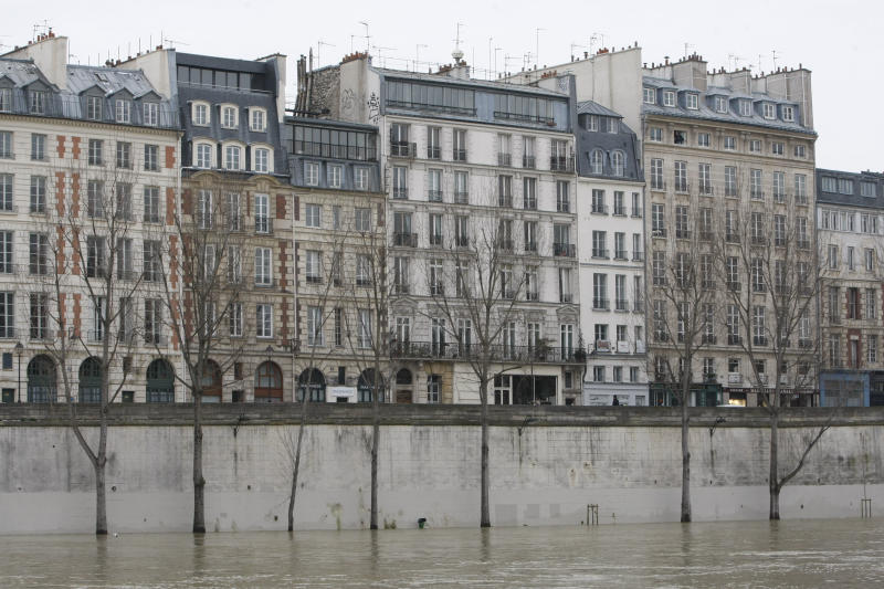 Water lapped the feet of trees along the Seine river in Paris Monday Dec. 27, 2010, because of unusually high waters following heavy snow falls. Tour boat operators have halted sight-seeing cruises on the Seine river. Visible in background is the Ile de la Cite.(AP Photo/Remy de la Mauviniere)