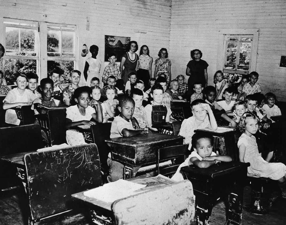 Six Black children completed their first week of work at nearby Griffin School July 23, 1955, the first Kentucky public school to attempt integration. (AP Photo)