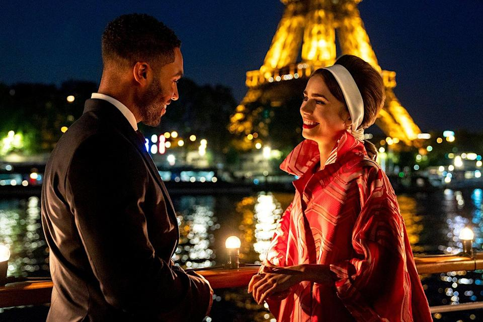 Lucien Laviscount as Alfie, Lily Collins as Emily in Emily in Paris Season 2