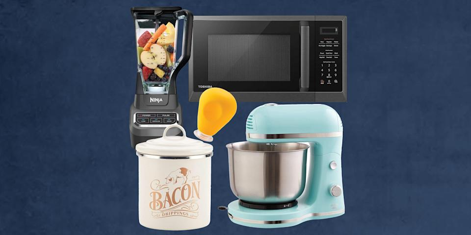"""<p>We know what's it's like to overexplain a purchase to validate its use, especially when it comes to your kitchen. This year, """"Amazon Prime Day 2021"""" is the only phrase you'll have to say when questioned. Treat yourself to unique kitchen appliances and <a href=""""https://www.housebeautiful.com/shopping/g36741120/amazon-prime-day-202-minority-owned-brands/"""" rel=""""nofollow noopener"""" target=""""_blank"""" data-ylk=""""slk:innovative gadgets"""" class=""""link rapid-noclick-resp"""">innovative gadgets</a> for less. Your most-cherished <a href=""""https://www.housebeautiful.com/shopping/home-gadgets/g22826031/smart-kitchen-appliances/"""" rel=""""nofollow noopener"""" target=""""_blank"""" data-ylk=""""slk:counter space"""" class=""""link rapid-noclick-resp"""">counter space</a> will gladly make room for these Prime Day steals.</p><p>Amazon is ensuring your kitchen has the items family members and friends will add to their wishlists and carts after seeing you own the kitchen and enjoy yourself while you're cooking away. Become a <a href=""""https://www.amazon.com/primeday?tag=housebeautiful_auto-append-20&ascsubtag=[artid 10057.a.36593922[src [ch [lt """" rel=""""nofollow noopener"""" target=""""_blank"""" data-ylk=""""slk:Prime Member"""" class=""""link rapid-noclick-resp"""">Prime Member</a> to save up to 40% off kitchen products from Amazon Basics including dinnerware sets, baking accessories, kitchen knives, and more. The items below are sure to make your time in the kitchen efficient, fun, and even Tik Tok worthy.</p>"""