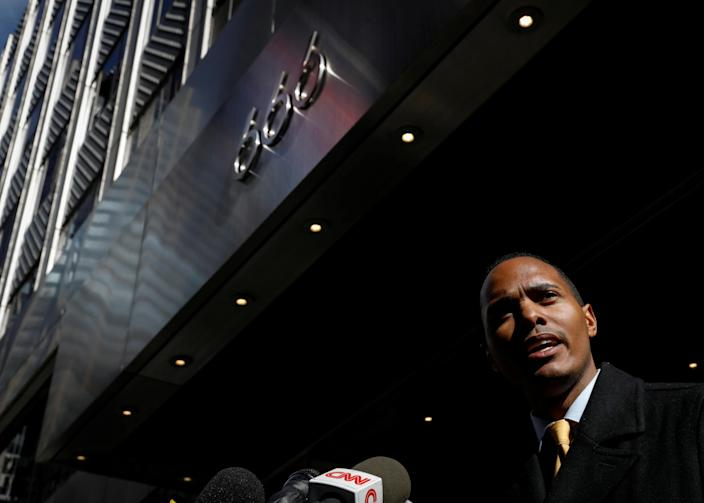 Bronx City Councilman Ritchie Torres speaks during a news conference, outside 666 5th Avenue regarding the Kushner Companies allegedly falsifying work permits with the City's Department of Buildings, in New York, U.S., March 19, 2018. REUTERS/Brendan McDermid