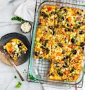 """<p>Yep, you can make a casserole for breakfast and still manage to eat healthy. This one hides two sweet potatoes, a head of broccoli, and more vegetables inside. Plus, it freezes up to three months.</p><p><a href=""""https://www.wellplated.com/vegetarian-breakfast-casserole/"""" rel=""""nofollow noopener"""" target=""""_blank"""" data-ylk=""""slk:Get the recipe from Well Plated »"""" class=""""link rapid-noclick-resp""""><strong><em>Get the recipe from Well Plated »</em></strong> </a></p>"""