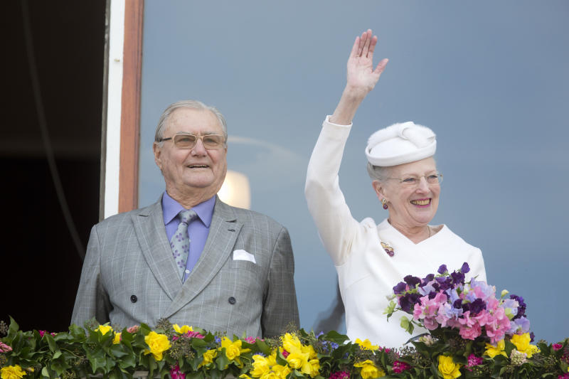Prince Henrik and Queen Margrethe II of Denmark attend a lunch reception to mark the forthcoming 75th Birthday of the Danish Queen at Aarhus City Hall on April 8, 2015 in Aarhus, Denmark.