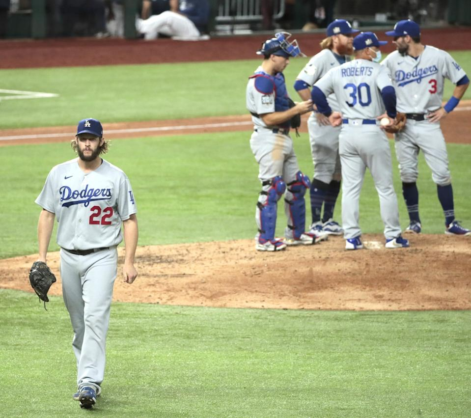 Dodgers starter Clayton Kershaw leaves Game 5 with two outs in the sixth inning.