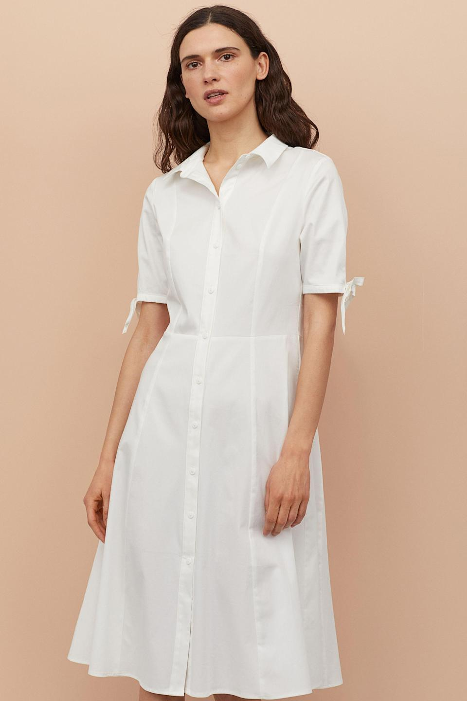 """<br> <br> <strong>H&M</strong> Cotton Satin Shirt Dress, $, available at <a href=""""https://go.skimresources.com/?id=30283X879131&url=https%3A%2F%2Fwww2.hm.com%2Fen_us%2Fproductpage.0743024003.html"""" rel=""""nofollow noopener"""" target=""""_blank"""" data-ylk=""""slk:H&M"""" class=""""link rapid-noclick-resp"""">H&M</a>"""
