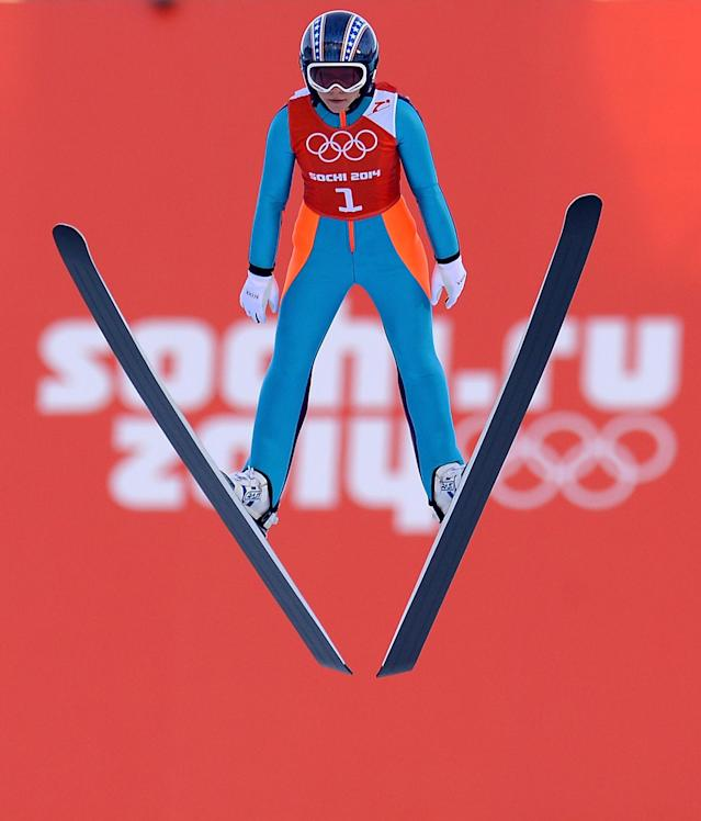 SOCHI, RUSSIA - FEBRUARY 08: Sarah Hendrickson of the United States trains during the Ladies' Normal Hill Individual Ski Jumping training on day 1 of the Sochi 2014 Winter Olympics at the RusSki Gorki Ski Jumping Center on February 8, 2014 in Sochi, Russia. (Photo by Lars Baron/Getty Images)