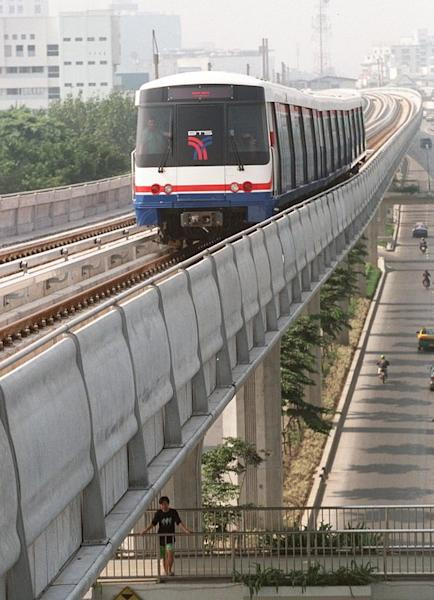 A skytrain, part of Bangkok's first mass transit system, makes its way above city street in 1998. Under a new $68 bn scheme, 200 high-speed trains will whizz across Thailand on four lines linking the capital Bangkok with the north, south and east of the country