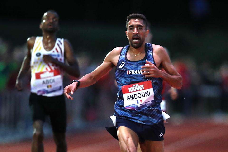 BIRMINGHAM, ENGLAND - JUNE 05: Morhad Amdouni of France wins the Mens International Race A during the Muller British Athletics 10,000m Championships & European Athletics 10,000m Cup 2021 at University of Birmingham Athletics Track on June 05, 2021 in Birmingham, England. (Photo by Jan Kruger/Getty Images)