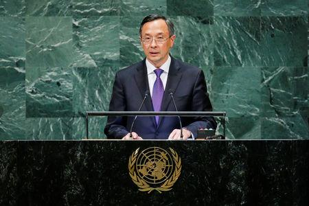 FILE PHOTO - Kazakhstan's Foreign Affairs Minister Abdrakhmanov addresses the 73rd session of the United Nations General Assembly at U.N. headquarters in New York