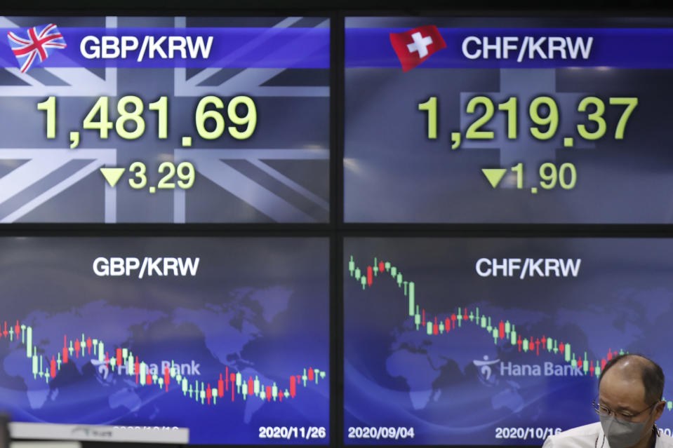 A currency trader walks near the screens showing the foreign exchange rates at the foreign exchange dealing room in Seoul, South Korea, Thursday, Nov. 26, 2020. Asian shares were mixed Thursday, after Wall Street took a pause from the optimism underlined in a record-setting climb earlier in the week. (AP Photo/Lee Jin-man)