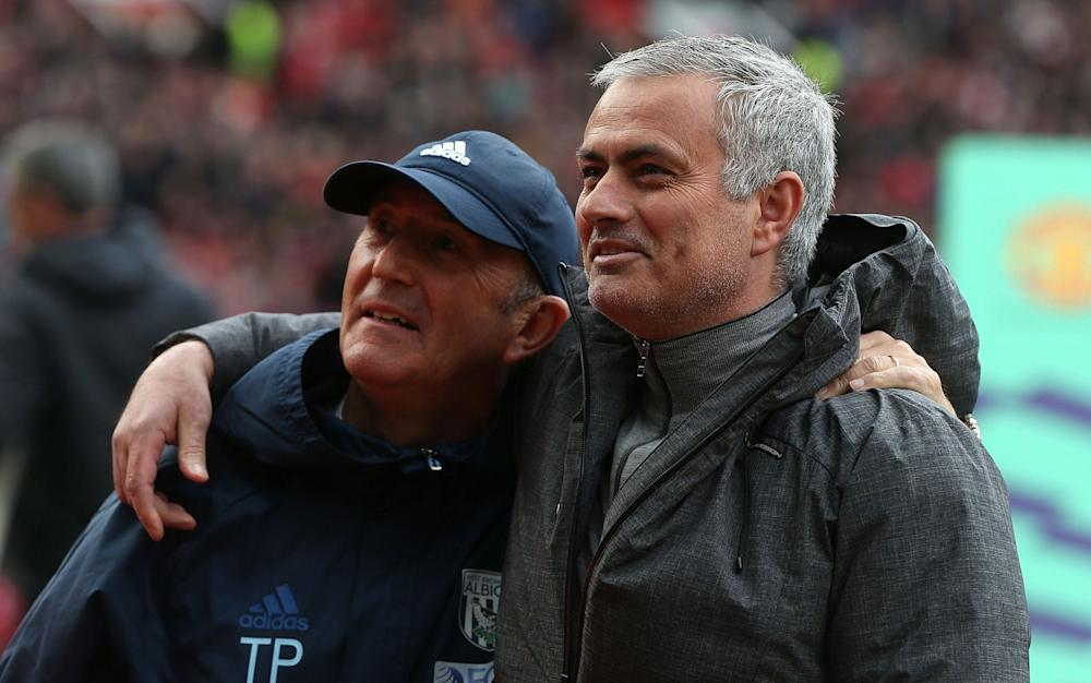 Tony Pulis and Jose Mourinho before kick off - Credit: getty images
