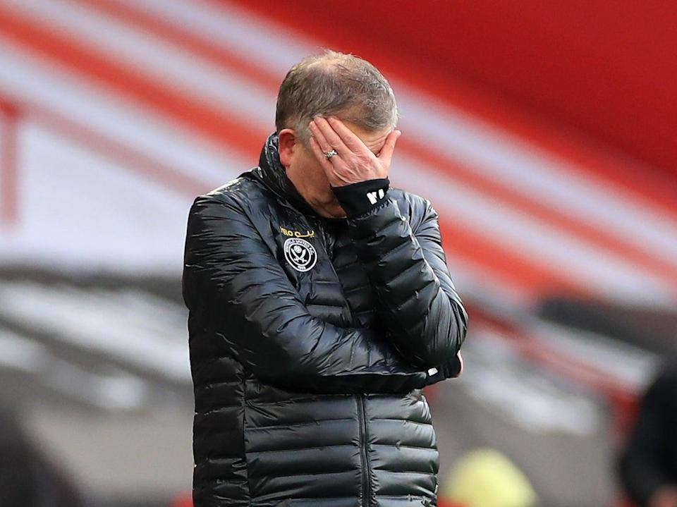 Sheffield United coach Chris Wilder reacts during his side's defeat by Southampton (Getty Images)
