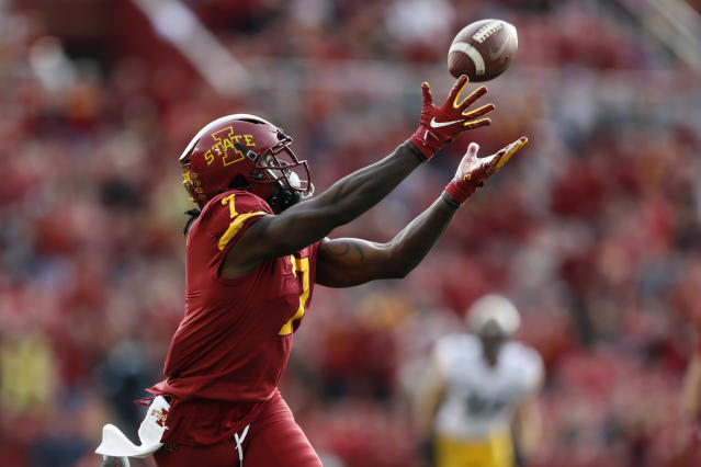 Iowa State wide receiver La'Michael Pettway catches a 51-yard touchdown pass during the first half of an NCAA college football game against Iowa, Saturday, Sept. 14, 2019, in Ames, Iowa. (AP Photo/Charlie Neibergall)