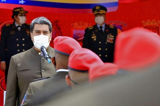 Venezuela's President Nicolas Maduro addressing a military ceremony in Caracas