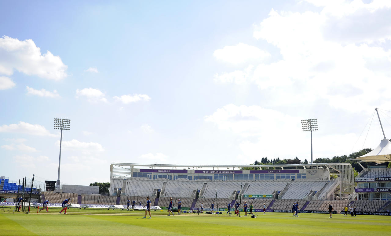 SOUTHAMPTON, ENGLAND - AUGUST 27: A general view of the batsmen in the nets during the England Nets Session at The Ageas Bowl on August 27, 2013 in Southampton, England. (Photo by Charlie Crowhurst/Getty Images)