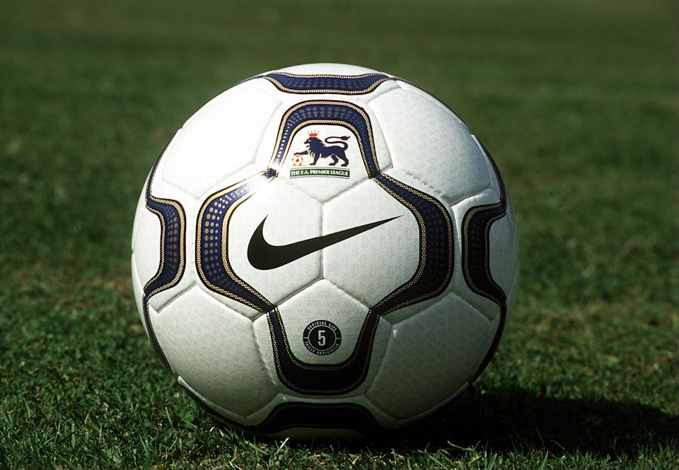 The first ball ever provided by Nike for the Premier League. Manchester United were the champions for the 7th time using this ball, while Jimmy Floyd Hasselbaink was the top scorer with 23 goals. (Photo by David Rogers/ALLSPORT)