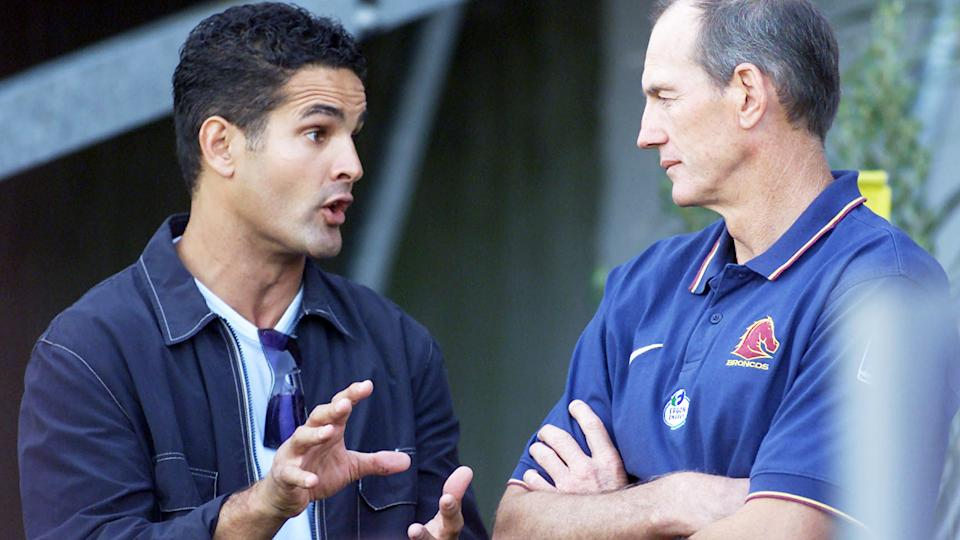 Matthew Ridge, pictured here speaking to Wayne Bennett before a game between the Warriors and Broncos.