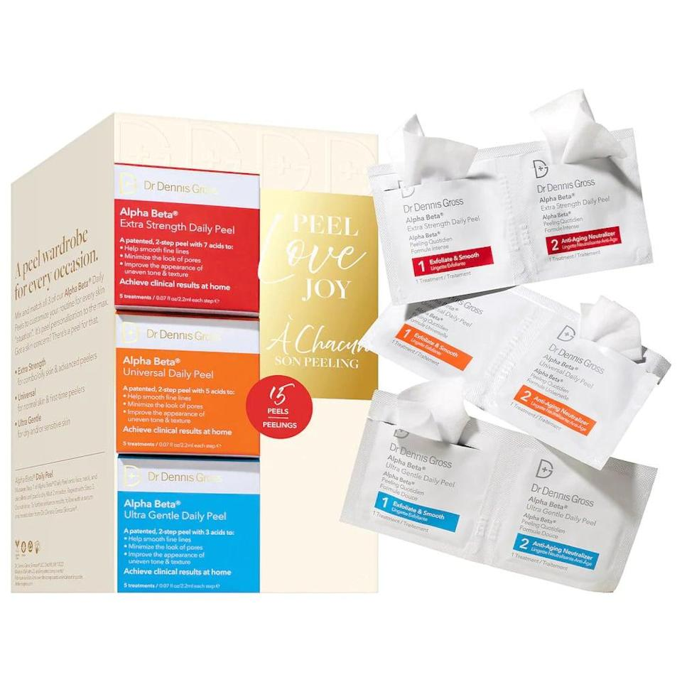<p>If you're shopping for someone who is an absolute skin-care pro, the <span>Dr. Dennis Gross Skincare Peel. Love. Joy.</span> ($34) set is something they'll actually use and appreciate. The set comes with three different strengths of the bestselling Alpha Beta peel.</p>