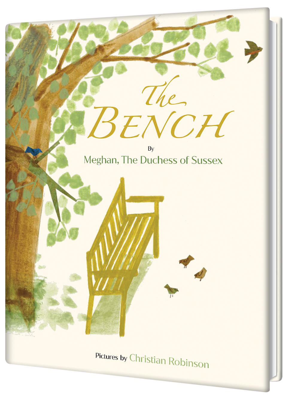 A book cover has a watercolor illustration of a tree and a bench and small birds.