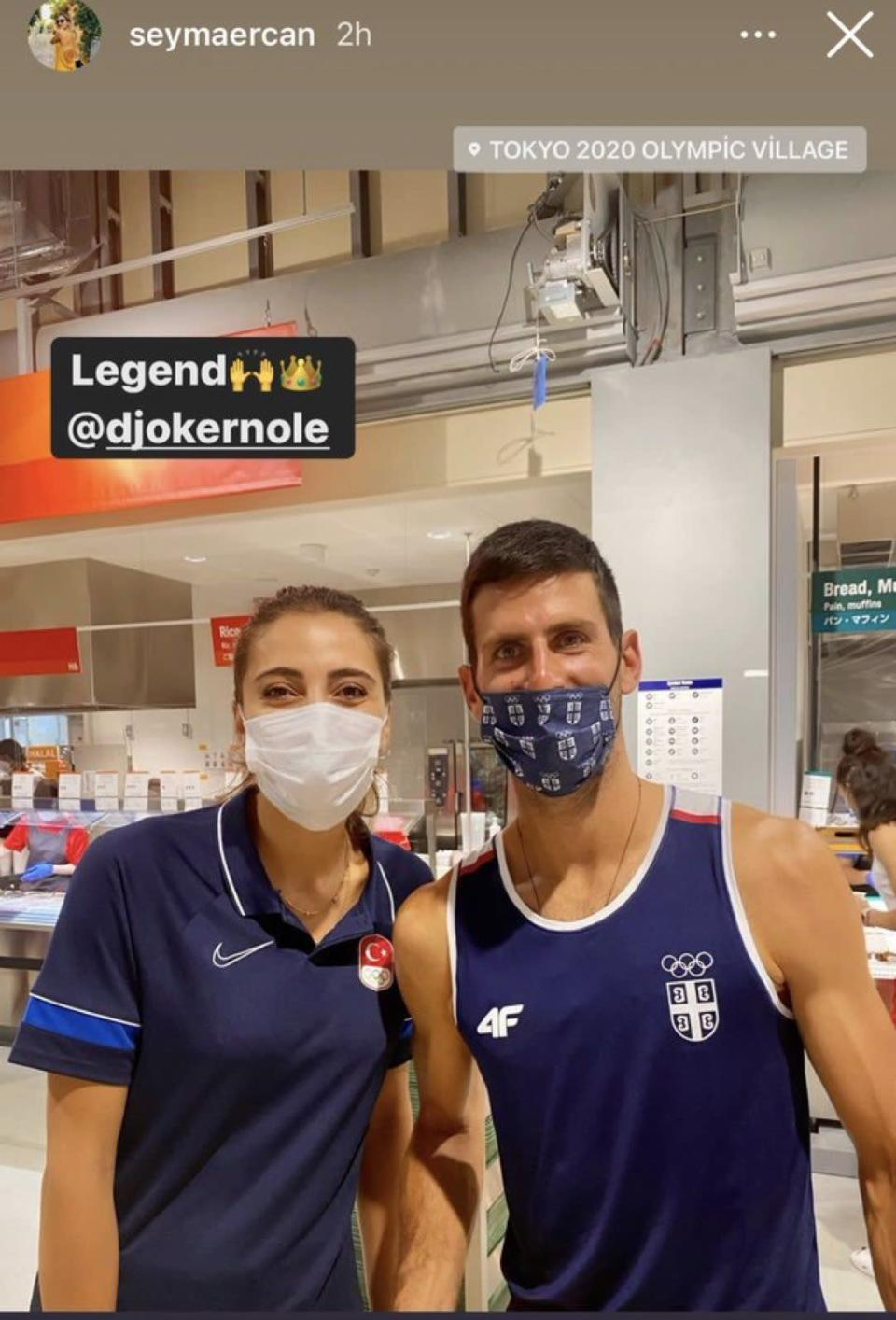 Seyma Ercan from the Turkish volleyball team also posted a photo of her and Djokovic on her Instagram story. (Photo courtesy of @seymaercan/Instagram)