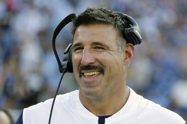 FILE - In this Aug. 17, 2019, file photo, Tennessee Titans head coach Mike Vrabel watches from the sideline in the first half of a preseason NFL football game against the New England Patriots in Nashville, Tenn. Vrabel might have a wild card in his pocket with at least 14 Titans, led by quarterback Marcus Mariota, in the final year of their contracts providing added motivation. (AP Photo/James Kenney, File)