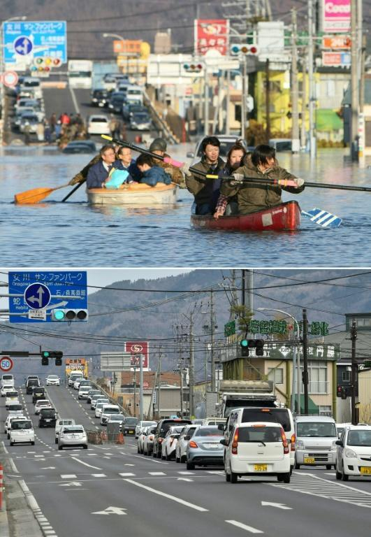 People (top) evacuated by boat down a flooded road in Ishinomaki on March 12, 2011; and the same area (bottom) is pictured nearly 10 years later