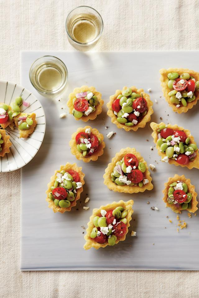 "<p><strong>Recipe:</strong> <a href=""http://www.myrecipes.com/recipe/cornbread-tartlets-tomato-relish-50400000120556/"" target=""_blank""><strong>Cornbread Tartlets with Tomato-Lima Bean Relish</strong></a></p> <p>Inspired by summery succotash, these petite tarts are buttery and fresh all in one bite.</p>"