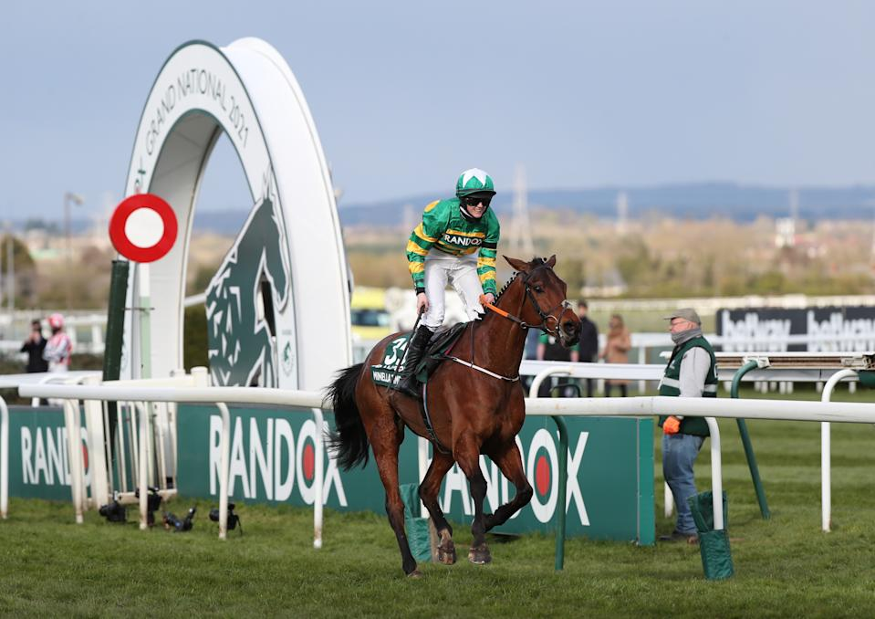 Rachael Blackmore became the first female jockey to win the Grand National with victory on Minella Times at Aintree on Saturday © Pool via REUTERS