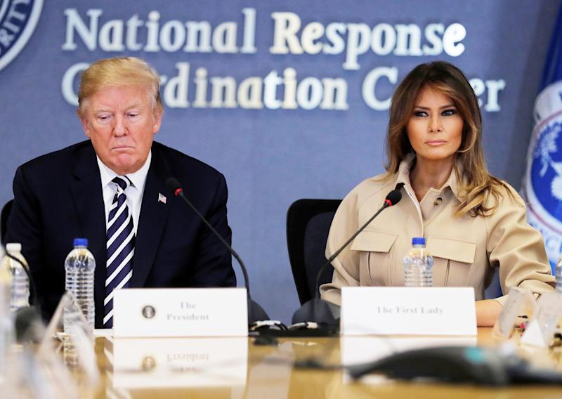 U.S. first lady Melania Trump appears with President Donald Trump.