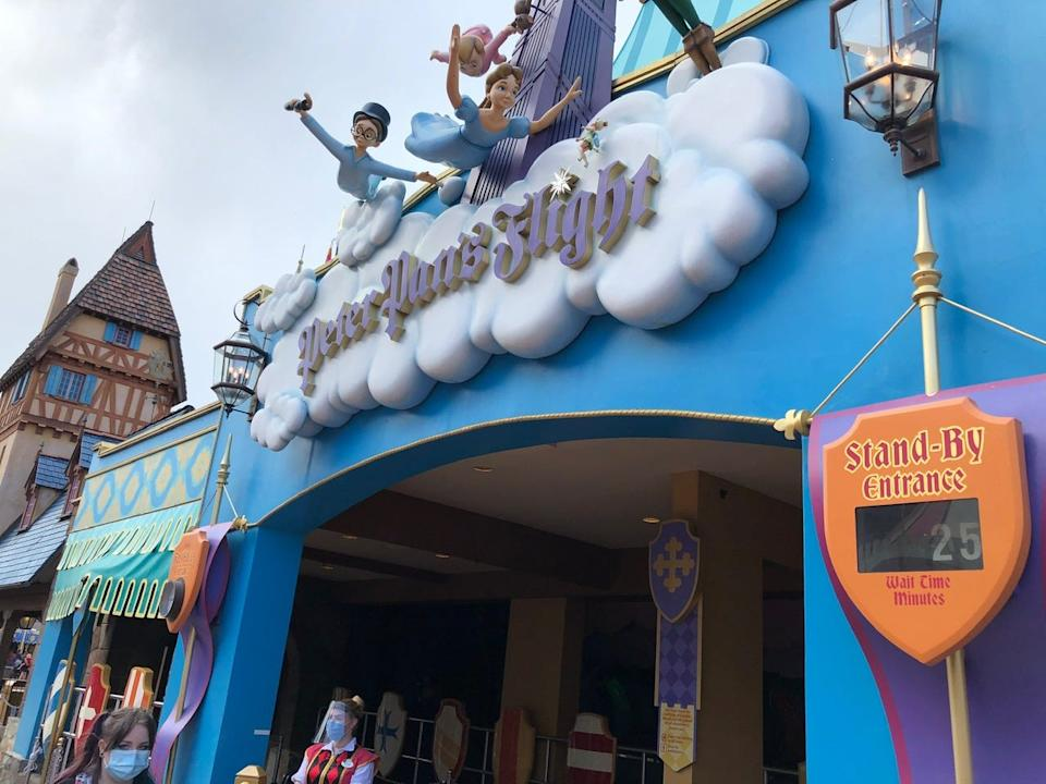 Although the posted wait time for Peter Pan's Flight was 25 minutes, the actual wait was only 10.