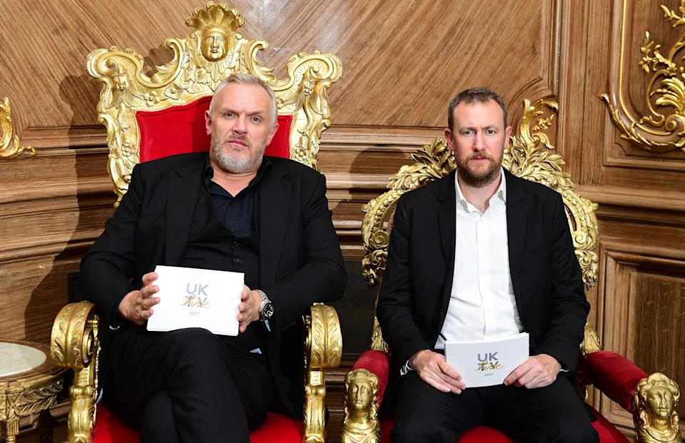 Greg Davies and Alex Horne during for the UKTV Live new season launch at Claridge's hotel, London.