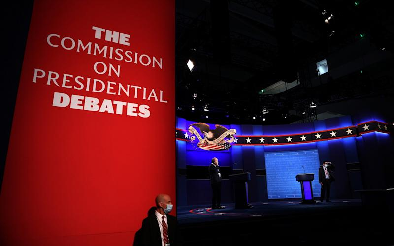 The debate stage is set for U.S. President Donald Trump and Democratic presidential nominee Joe Biden to participate in the first presidential debate at the Health Education Campus of Case Western Reserve University on September 29, 2020 in Cleveland, Ohio. This is the first of three planned debates between the two candidates in the lead up to the election on November 3 - GETTY IMAGES