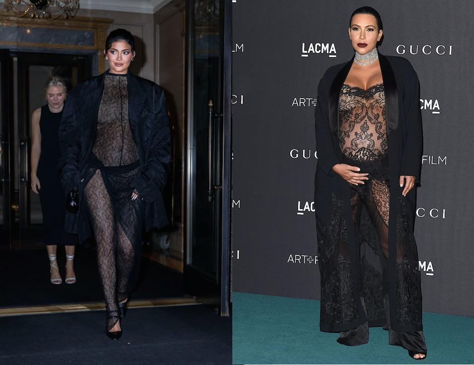Has Kylie Jenner been taking maternity style tips from sister Kim Kardashian West? Jenner pictured last night in New York, Kardashian West pictured in 2015, while pregnant with son Saint. (Getty Images)